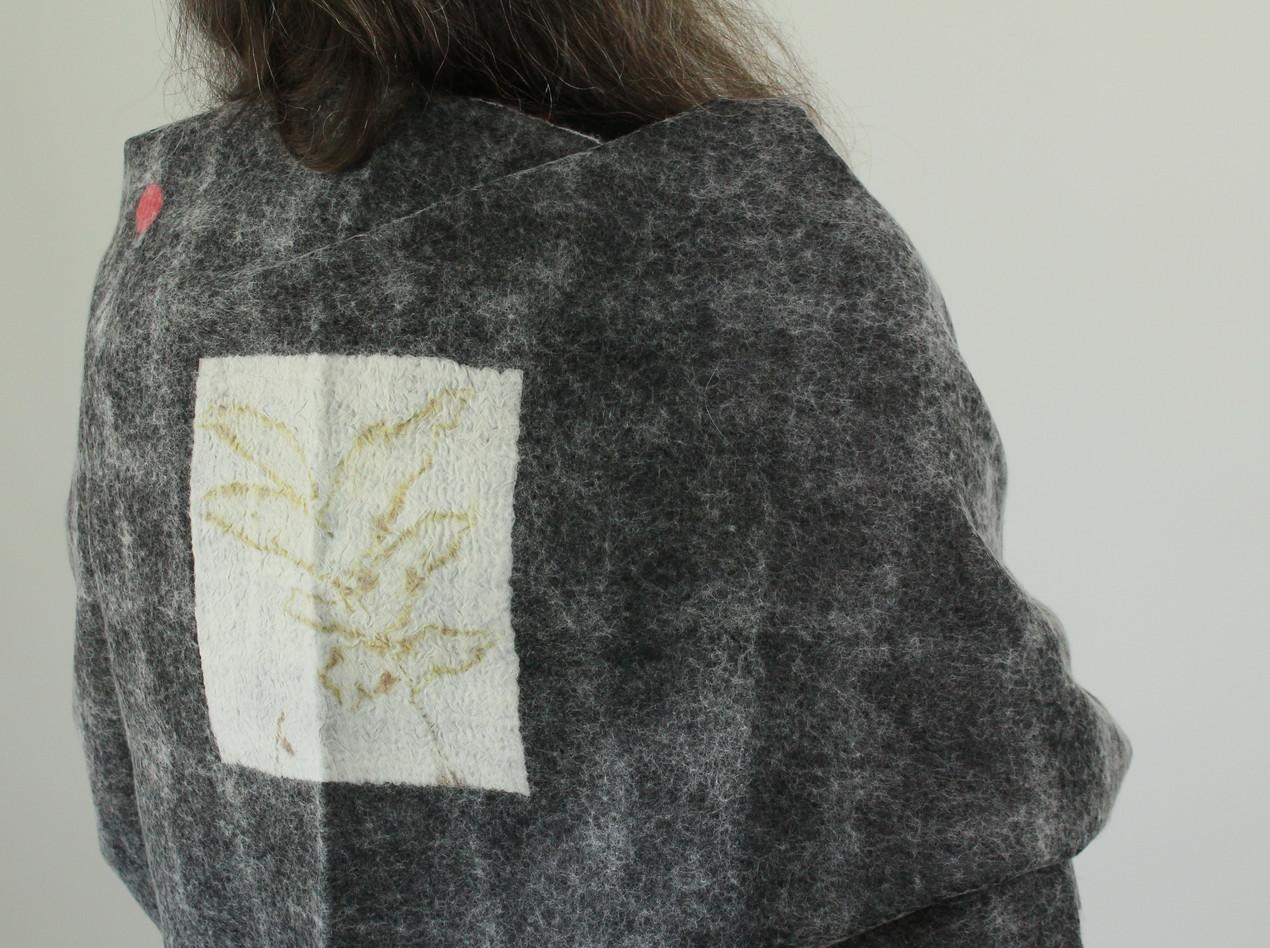 Ultra light felt infused silk shawl