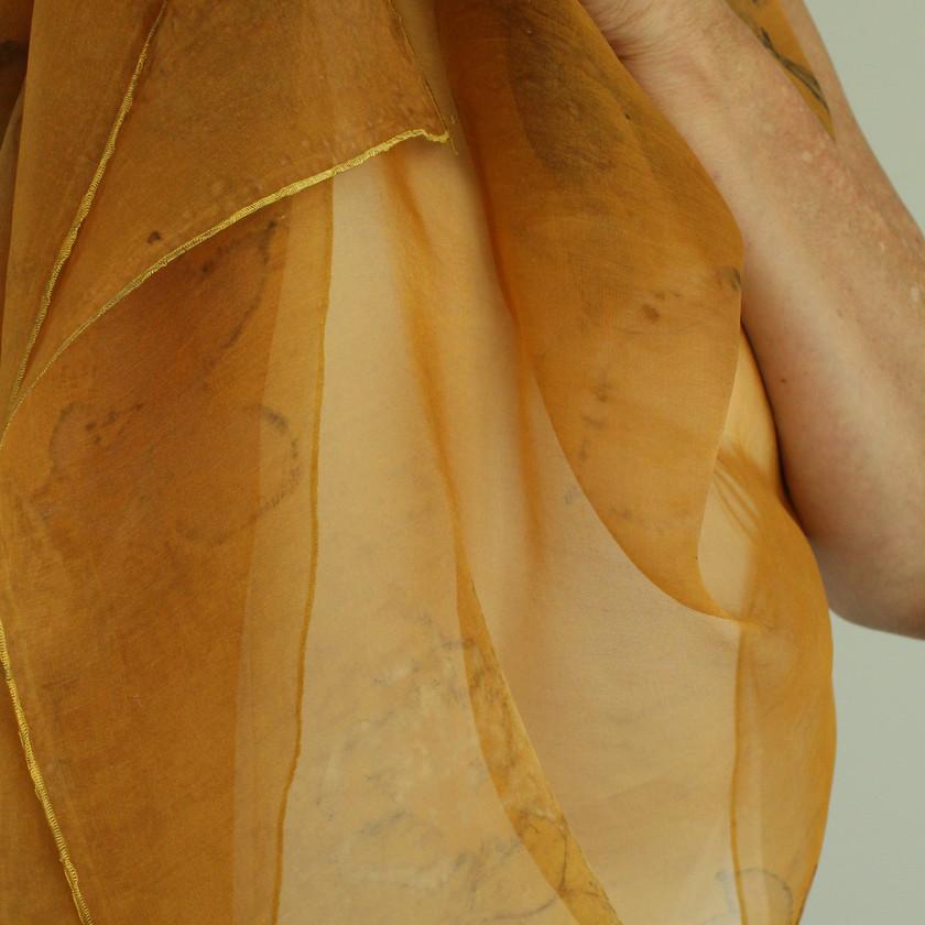 Dark Gold Eco Printed Shawl