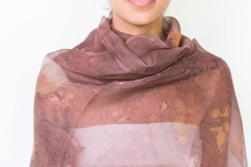 Silk Organza Shawl, Eco Printed & Naturally Dyed