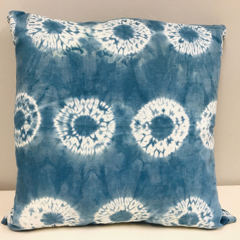 Handmade & dyed Indigo Shibori Pillow