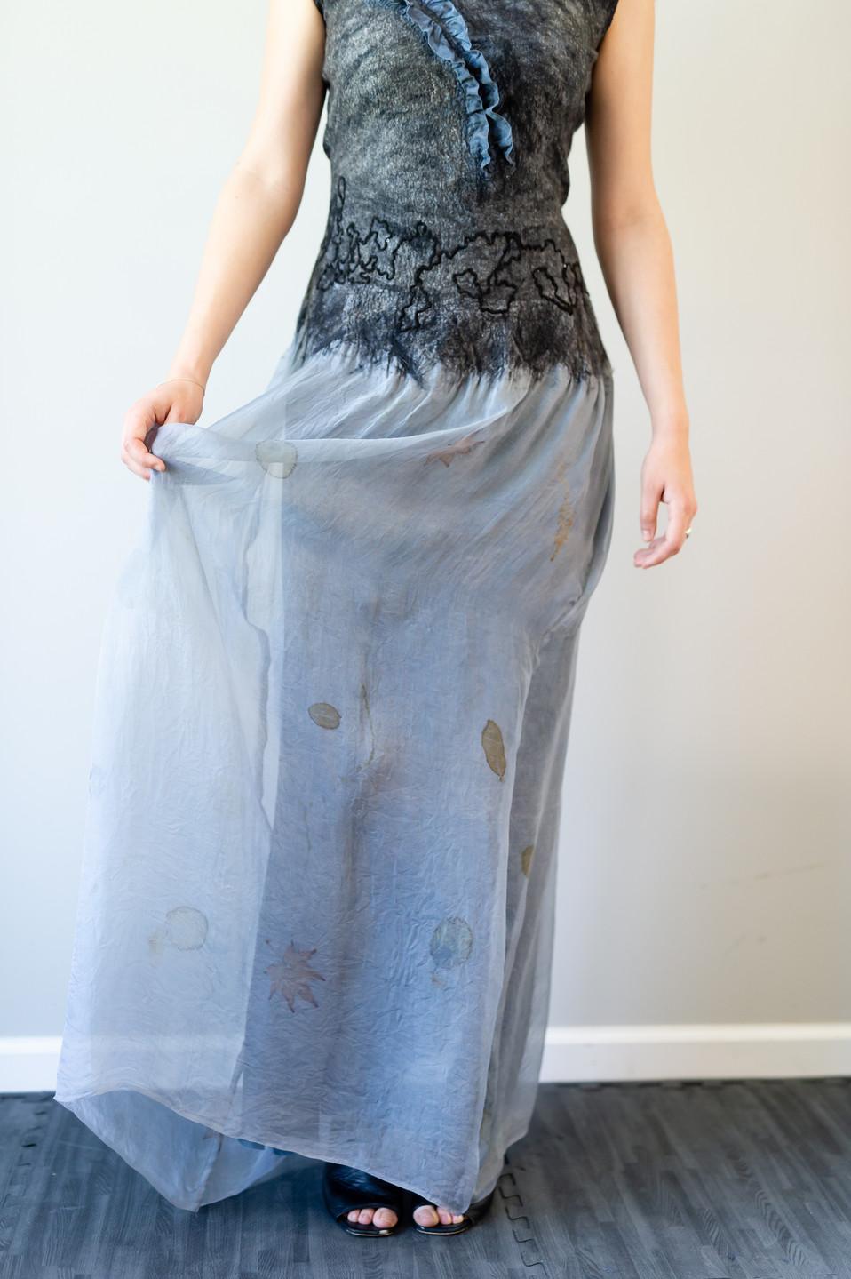 Hand eco printed silk organza skirt on long dress