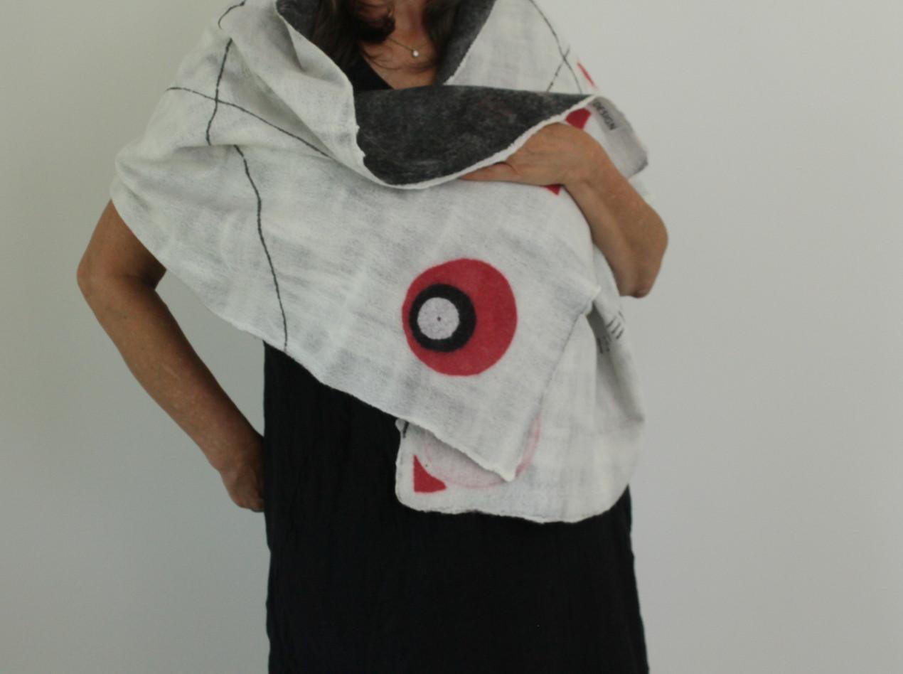 Modern Geometric, reversible ultralight felt infused shawl