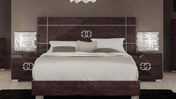 ESF Status Italy Prestige Walnut 3pc Bedroom Set with Queen Bed