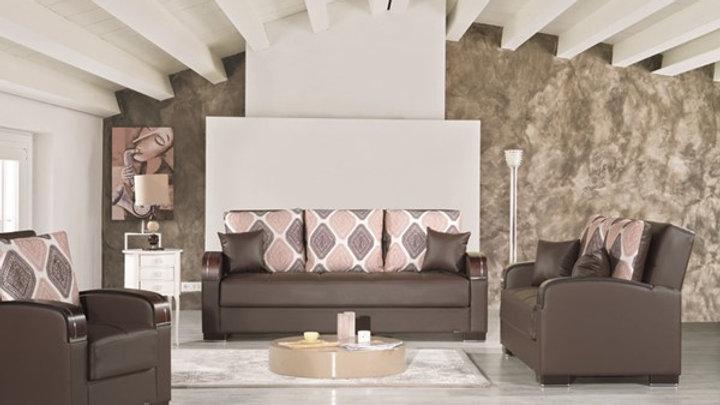 Casamode Mobimax Brown PU 3pc Living Room Set