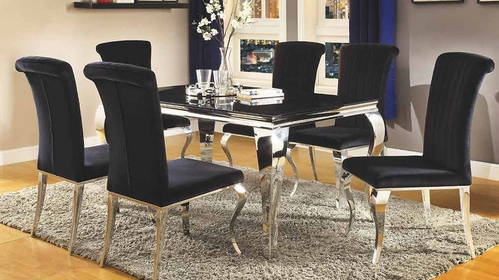 Belt Contemporary Black and Mirrored Dining Table