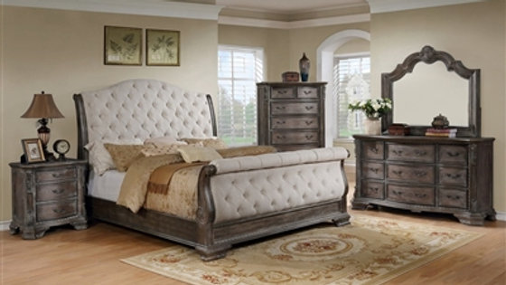 Sheffield Sleigh 6 Piece Bedroom Suite in Antique Grey Finish by Crown Mark