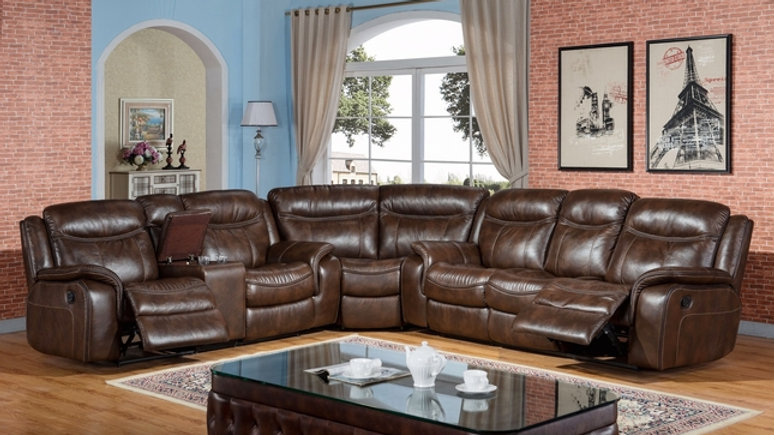 Braylon Classic Brown Reclining Sectional In Premium Leather Air Fabric