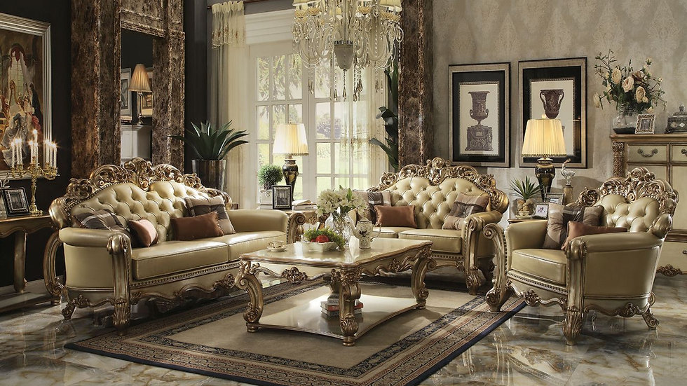 ACME Vendome Sofa w/4 Pillows - 53000 - Bone PU & Gold Patina