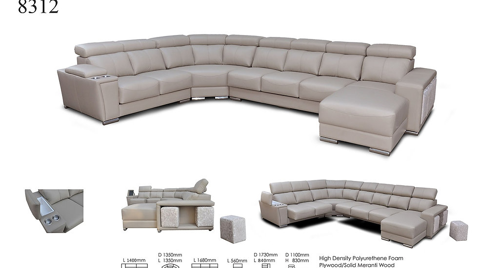 ESF 8312 ITALIAN LEATHER SECTIONAL W-SLIDING SEATS