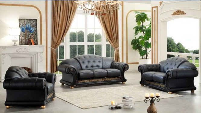 Versace Italian Leather Classic Sofa Set By ESF