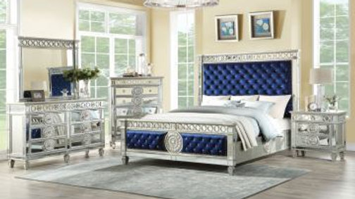 Acme Furniture Varian King Crystal Tufted Panel Bed w/Nightstand and Dresser