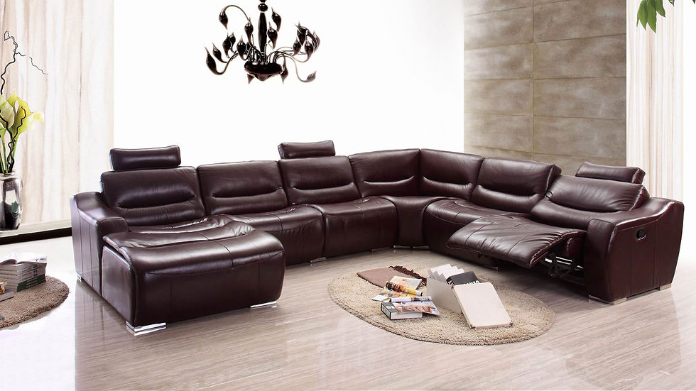GENUINE ITALIAN LEATHER RECLINER SECTIONAL BY ESF 2144