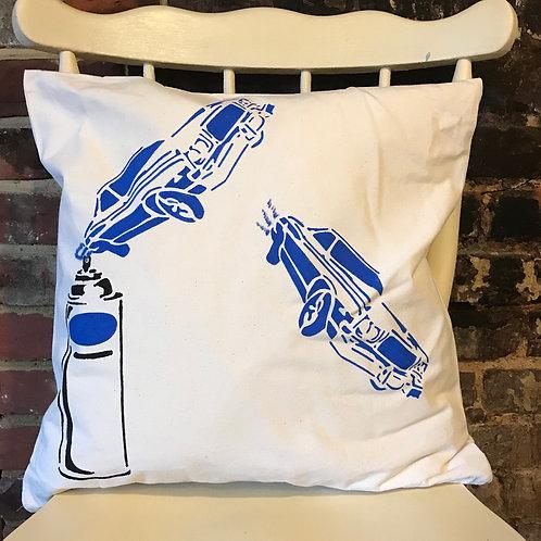 Blue Car - Graffiti Cushion Art