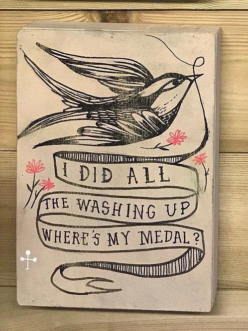 Washing Up! - Original art on wood