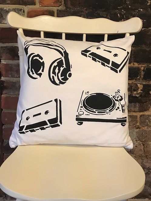 Retro Music - Graffiti Cushion Art