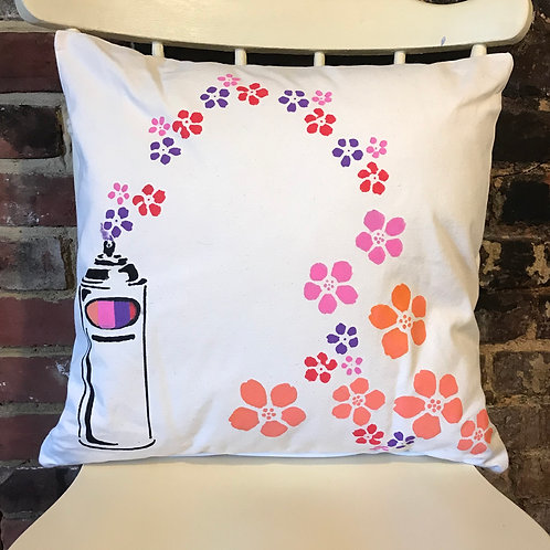 Spray Flowers - Graffiti Cushion Art