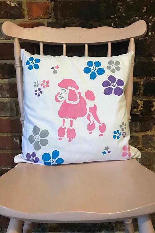 Pink Poodle & Baubles - Cushion Art
