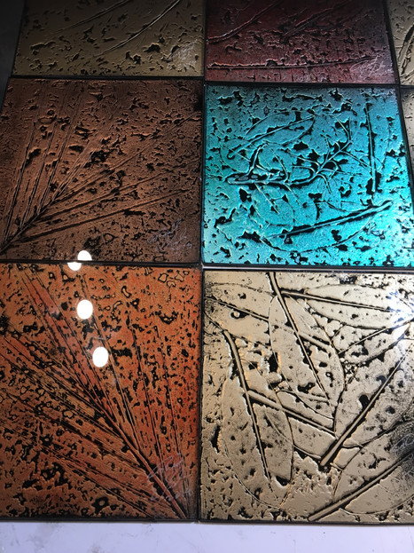 Glass tiles done in my basement studio during the winter