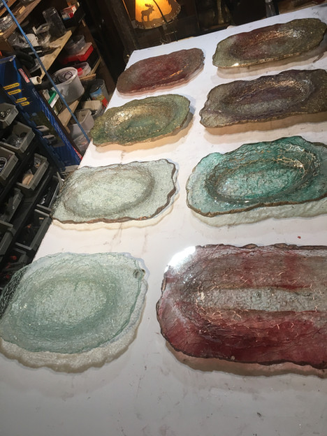 Cold bent bowls done in the basement studio