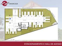 Estacionamento e hall de acesso