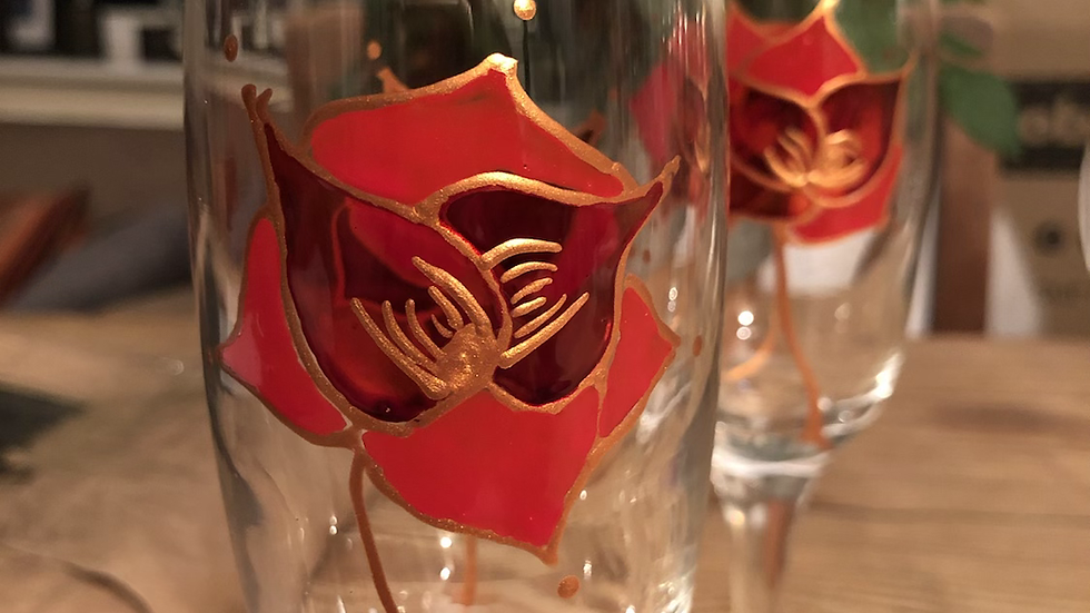 A selection of painted Wine Glasses