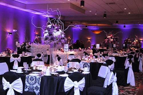 Black and White chair cover reception