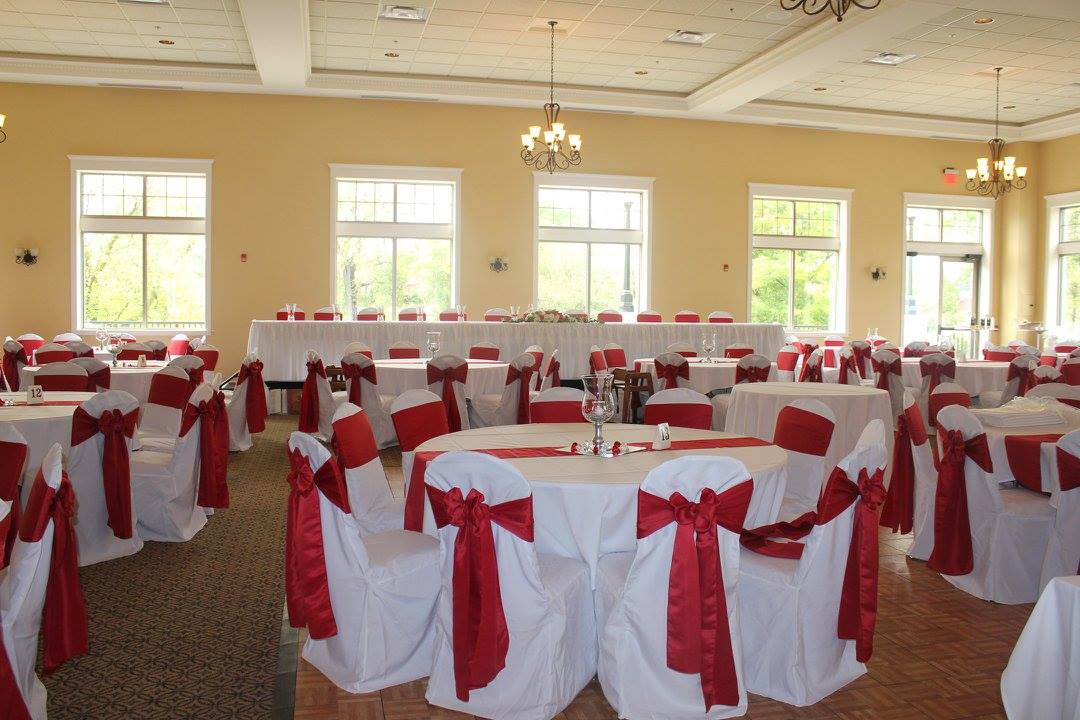 Red and White Chair Cover Reception