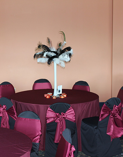 Black and Burgundy Chair Cover Rentals