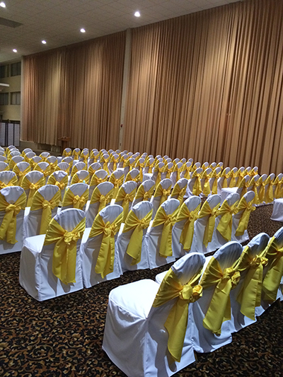 Yellow and White Chair Cover Rental