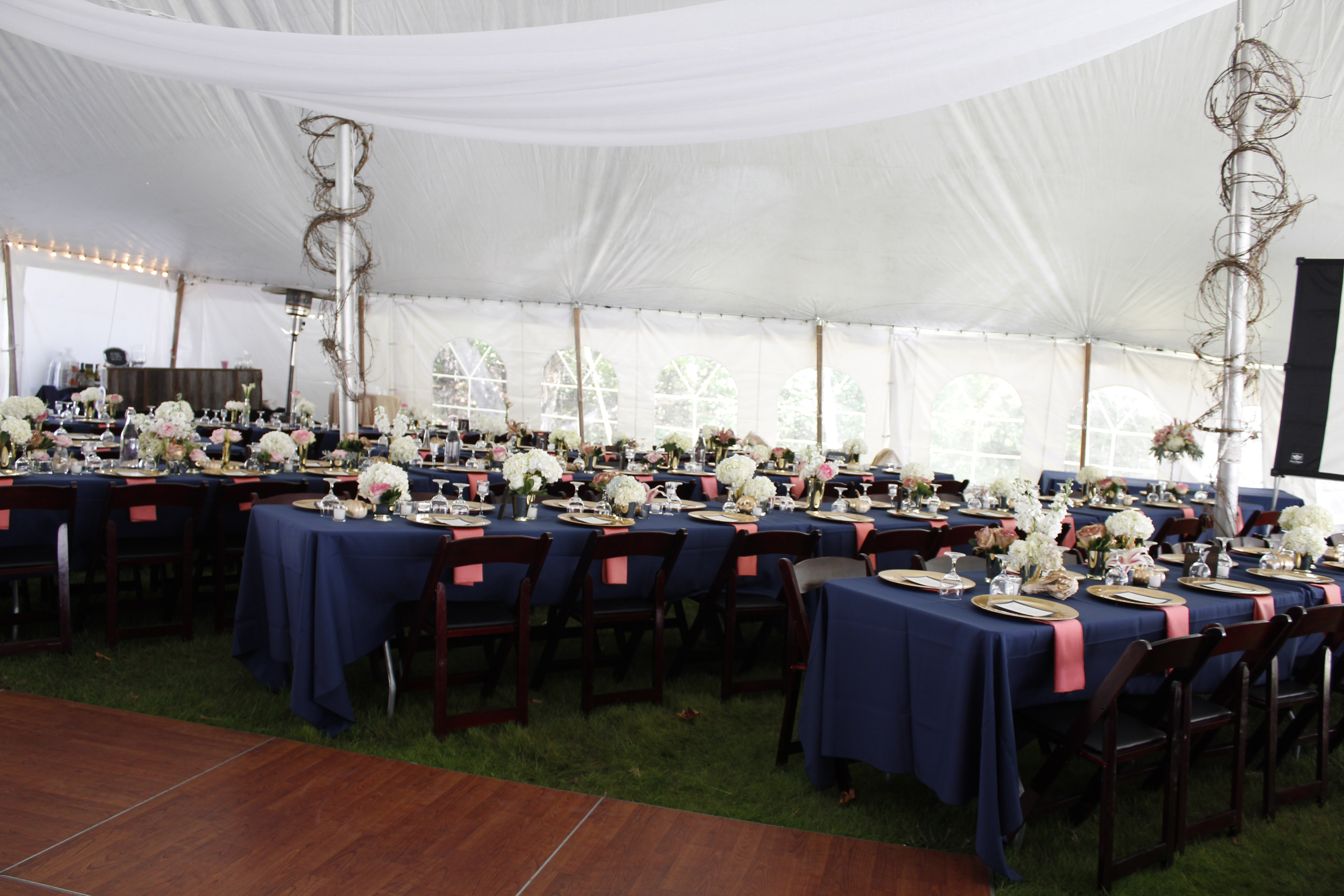 Navy and coral tent reception