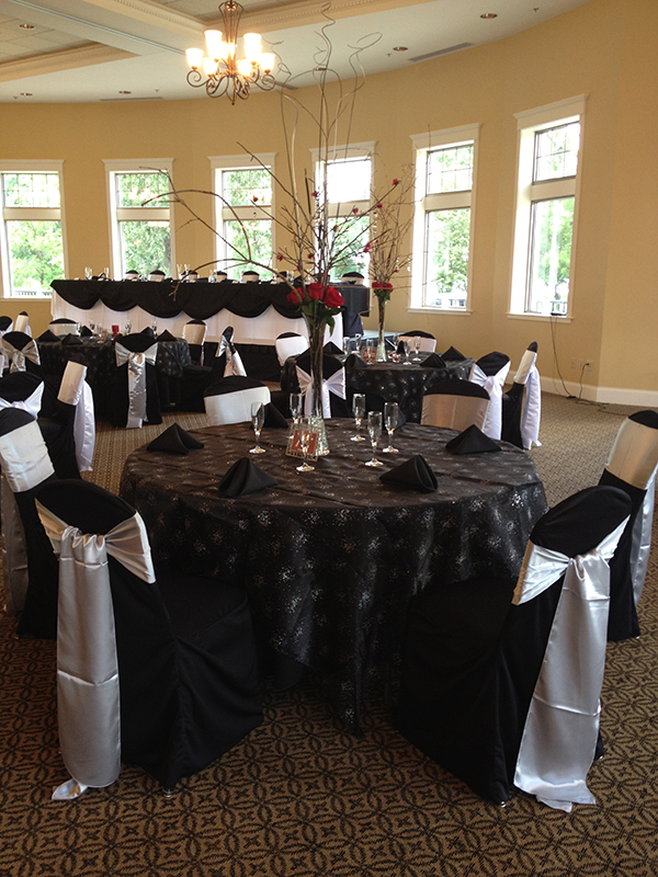 Black and Silver Chair Cover Reception