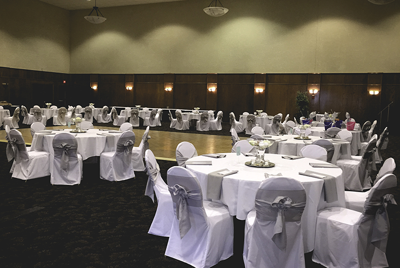 White and Silver Chair Cover Rentals