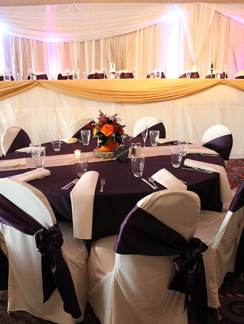 Eggplant and ivory chair Cover Rentals