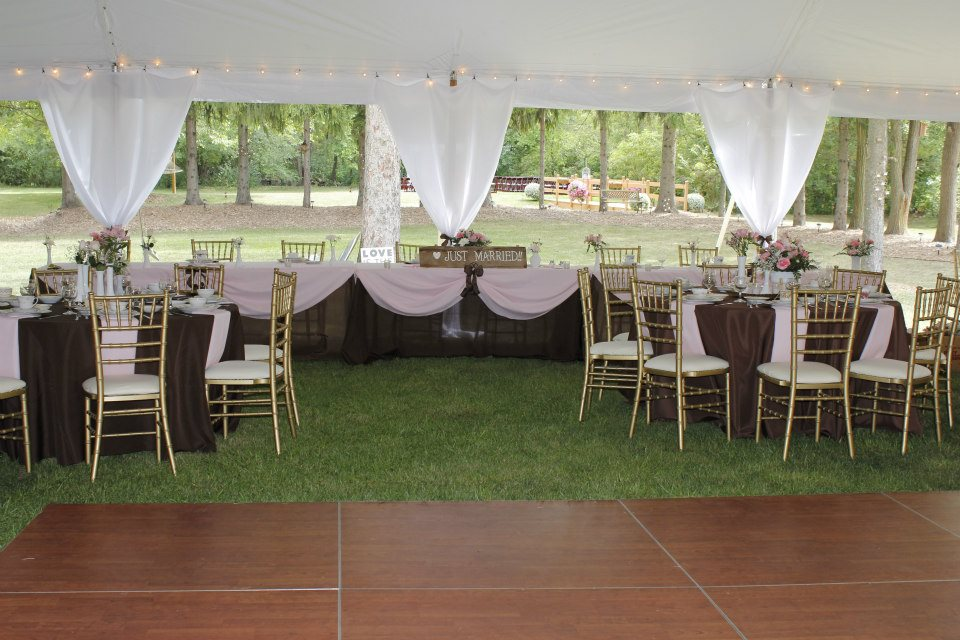 Brown and pink tent reception