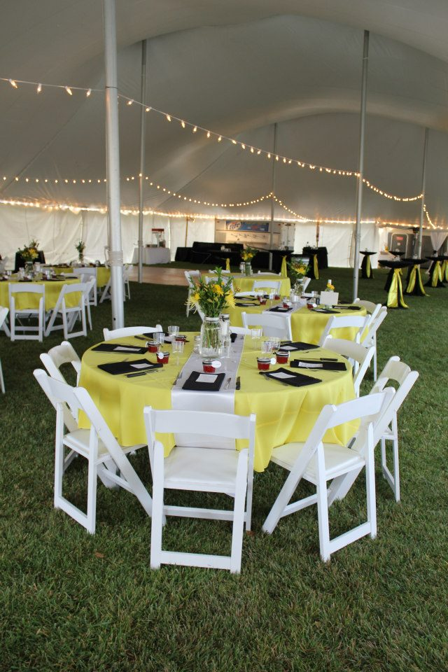 Yellow and Black Wedding Reception