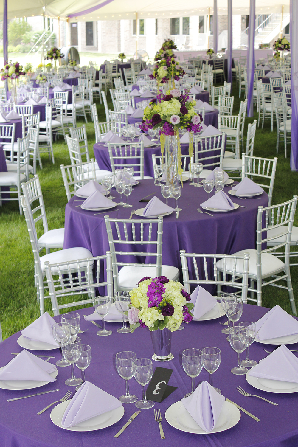 Purple and Silver Tent Wedding