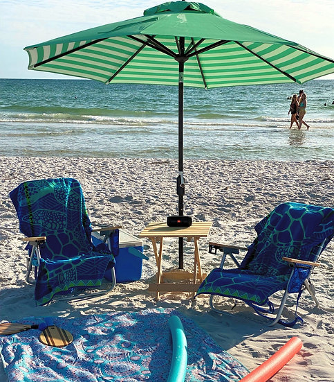 Premium* Umbrella, 2 chairs, Towels, Cooler w/ice, Table, Blanket, Speaker, Game