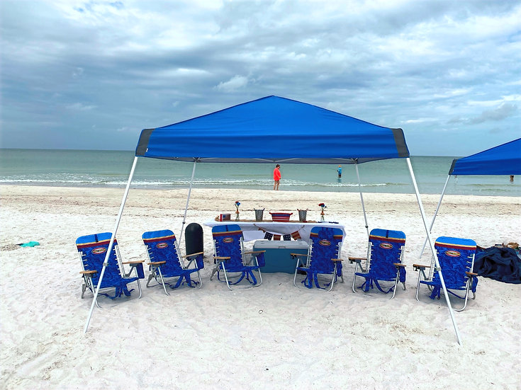 Premium* Tent, 6 Chairs, Towels, Cooler w/ice, Table, Speaker, Games & More