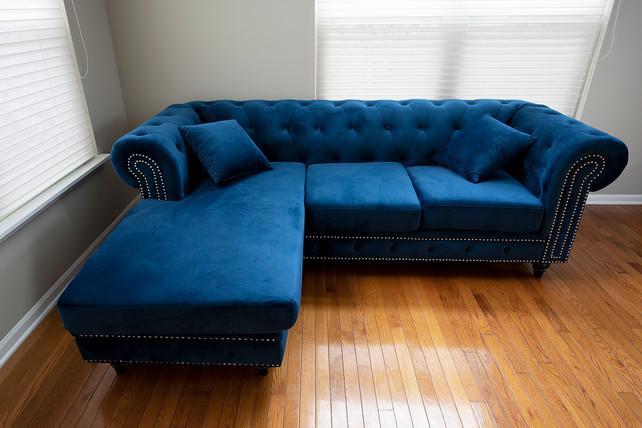 Sitting Room I Blue Velvet Couch