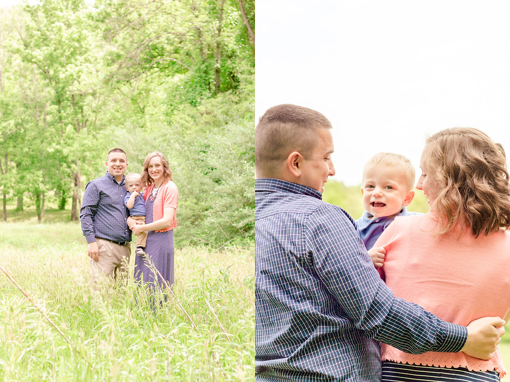 mother, father, and son stand in a field during their photoshoot with devon portrait photographers