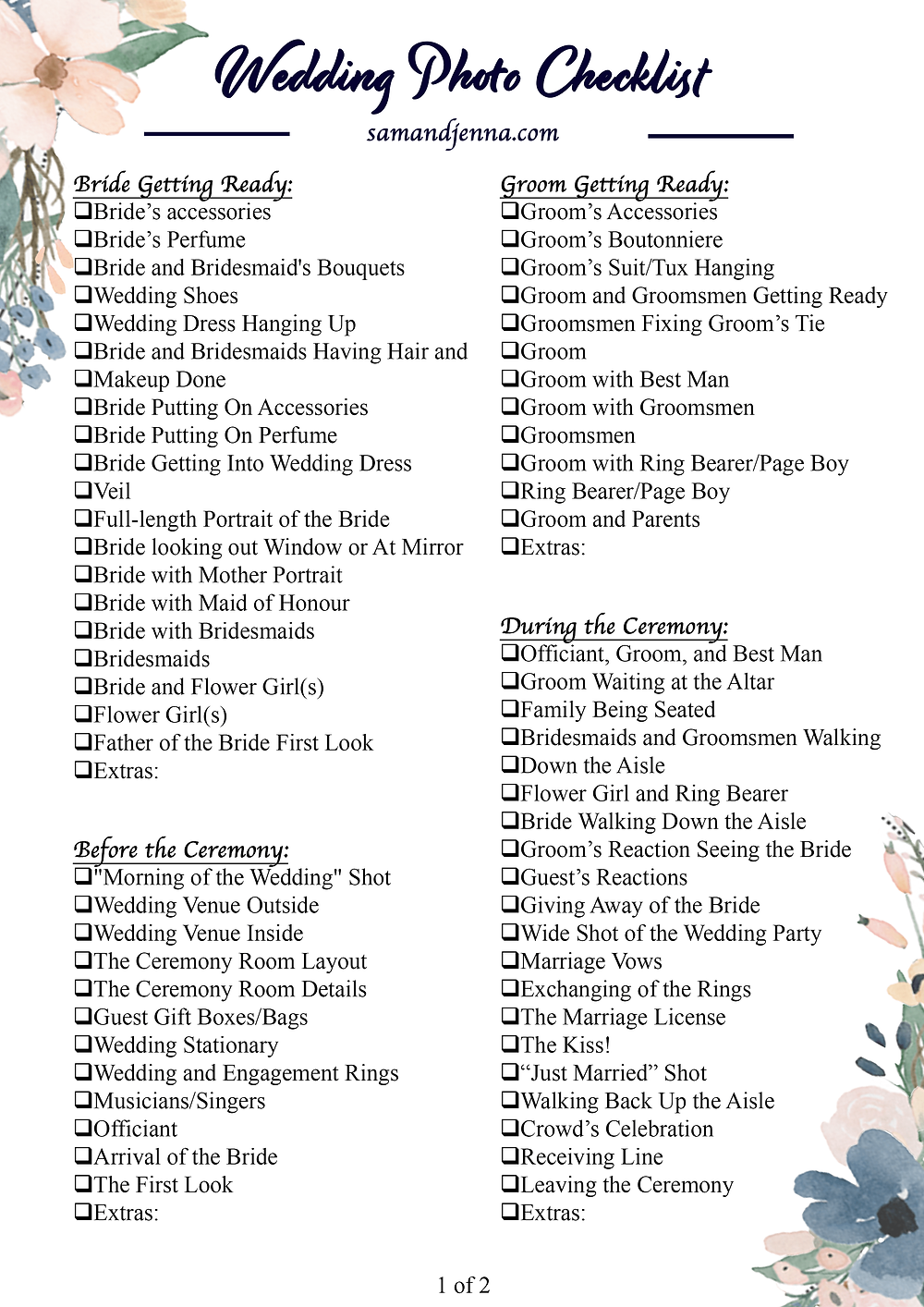 Free Wedding Photo List Page 1
