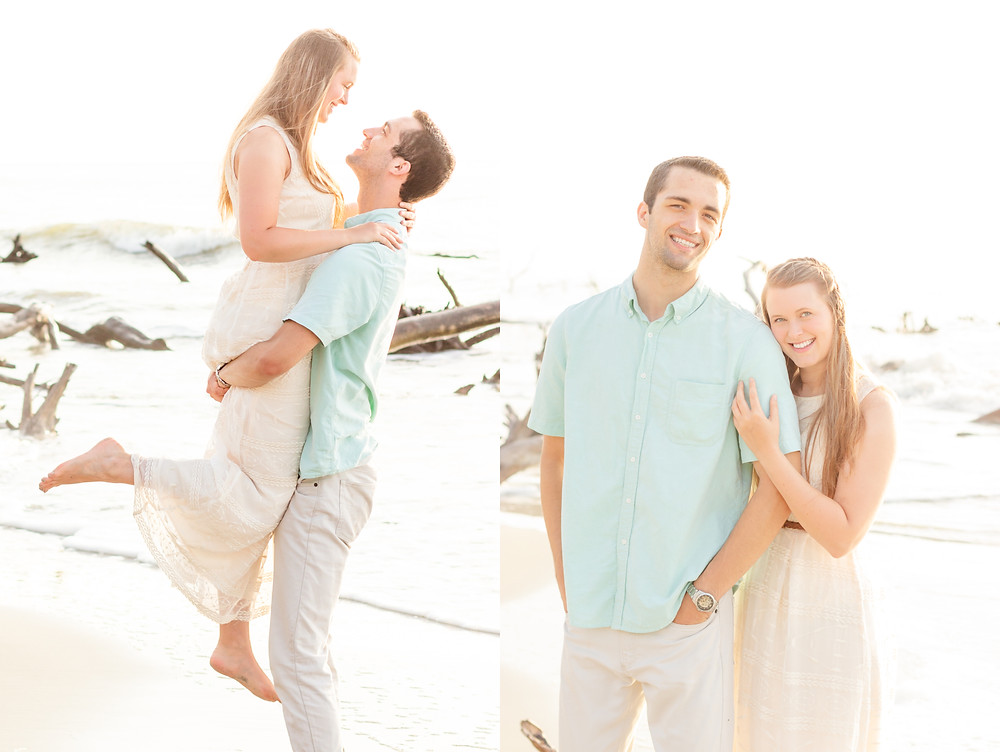 Man lifts woman into the air in a light and airy beach photo during a sunrise photoshoot