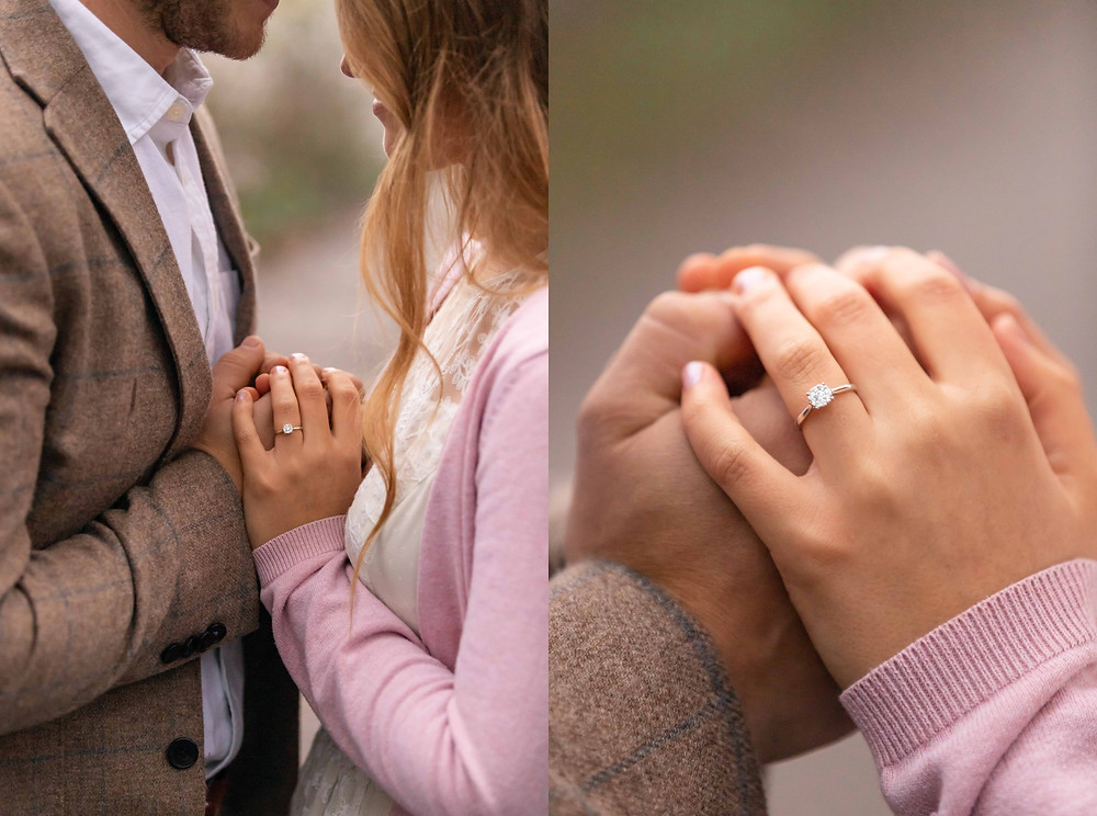 close up photos of engagement ring with Devon wedding photographer, Sam and Jenna