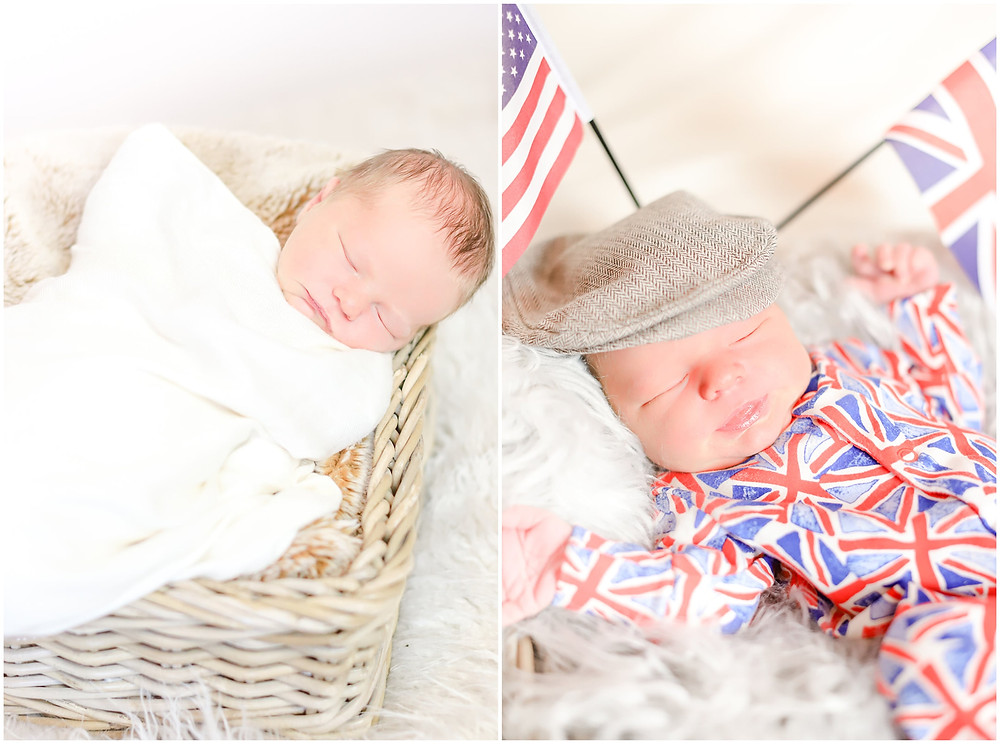 Collage of a newborn baby boy sleeping during his photoshoot with Exeter photographer