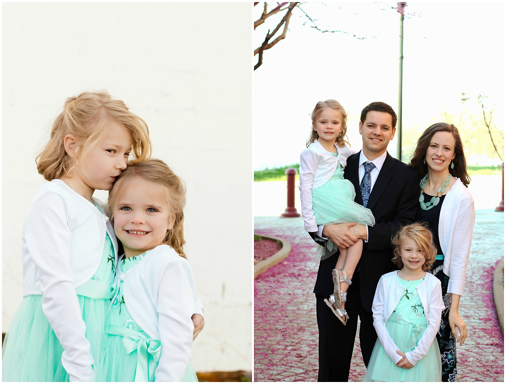 A family wearing matching clothes for a family portrait session