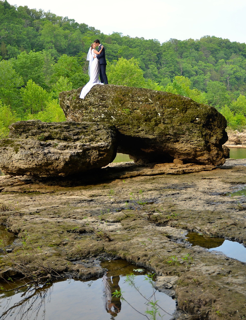 Sam and Jenna's wedding photo at Rock Island State Park in Tennessee