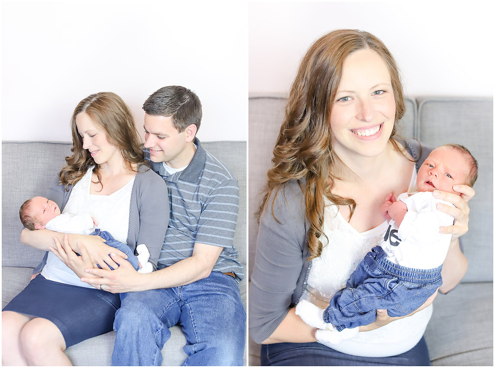 Collage photo of a newborn baby boy being held by his parents for a family photoshoot in their home