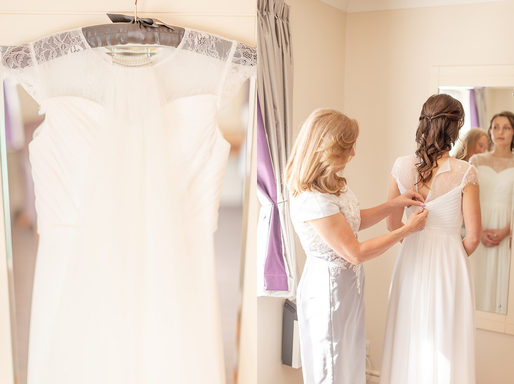 wedding dress, bride putting on her dress