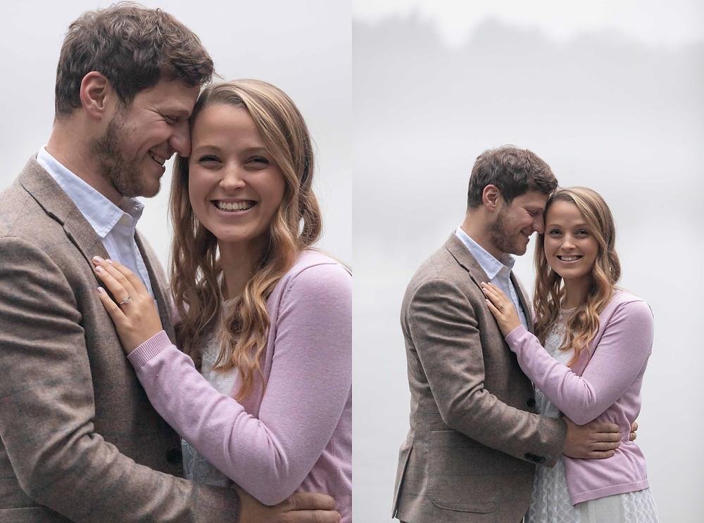 A couple embrace during a Devon engagement photo shoot