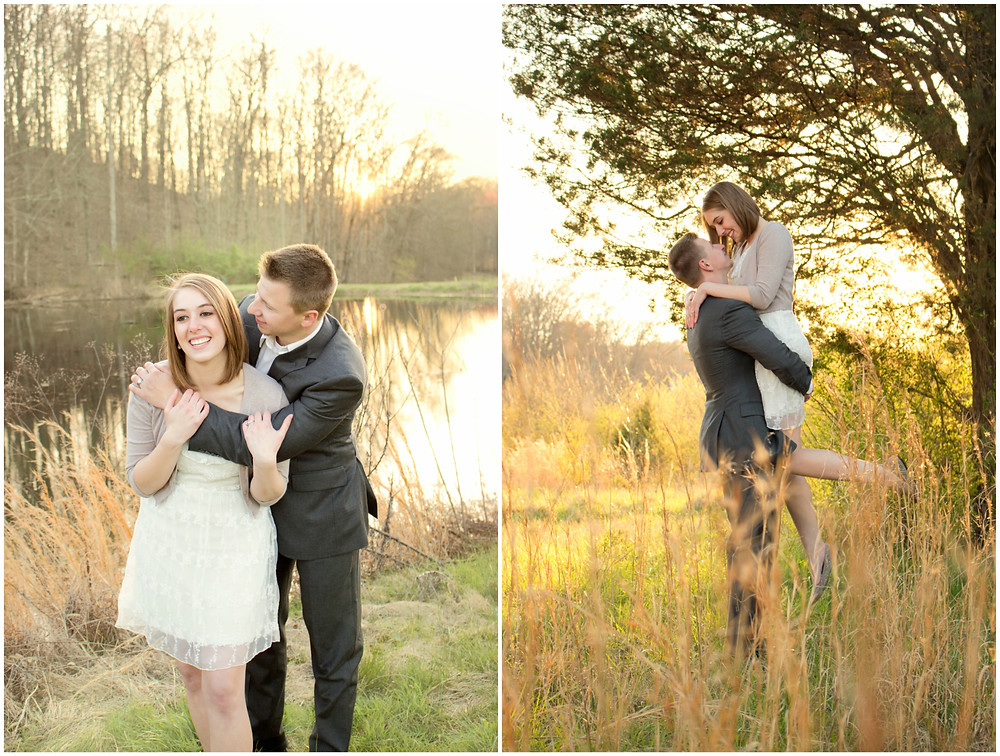 A lovely couple have their photo taken while the man sweeps the woman off of her feet during golden hour